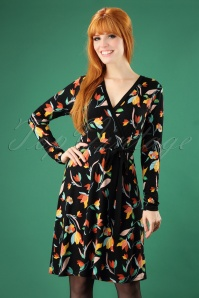 Yumi Colourful Tulip Print Swing Dress in Black  102 14 25699 20180821 0002W