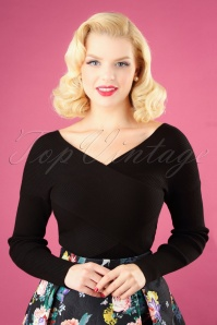 50s Cross Over Rib Jumper in Black