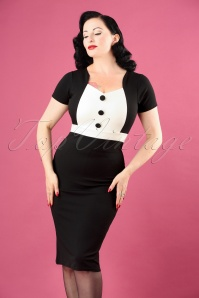50s Freda Pencil Dress in Black and Ivory