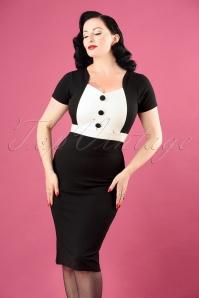 Vintage Chic Scuba Crepe Black and White Pencil Dress 26338 20180726 1W