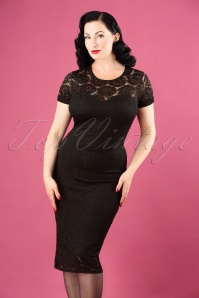 50s Kathleen Lace Pencil Dress in Black