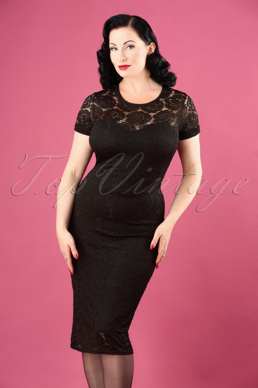 1950s Prom Dresses & Party Dresses 50s Kathleen Lace Pencil Dress in Black £48.18 AT vintagedancer.com