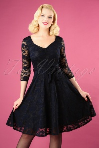 Vintage Chic for TopVintage 50s Myrna Lace Tea Dress in Navy