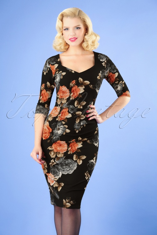 Vintage Chic Black Pink and Grey Roses Pencil Dress 100 14 26610 20180821 0002W