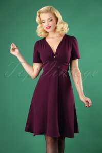 50s Pearly Smock Dress in Purple