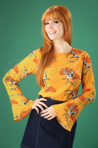 Sugarhill Boutique Eliana Birds Top in Yellow 112 89 25571 20180821 0002W