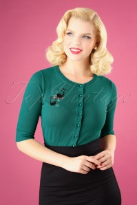 Collectif Clothing 50s Lucy Atomic Cats Cardigan in Teal 140 30 24787 20180626 1W