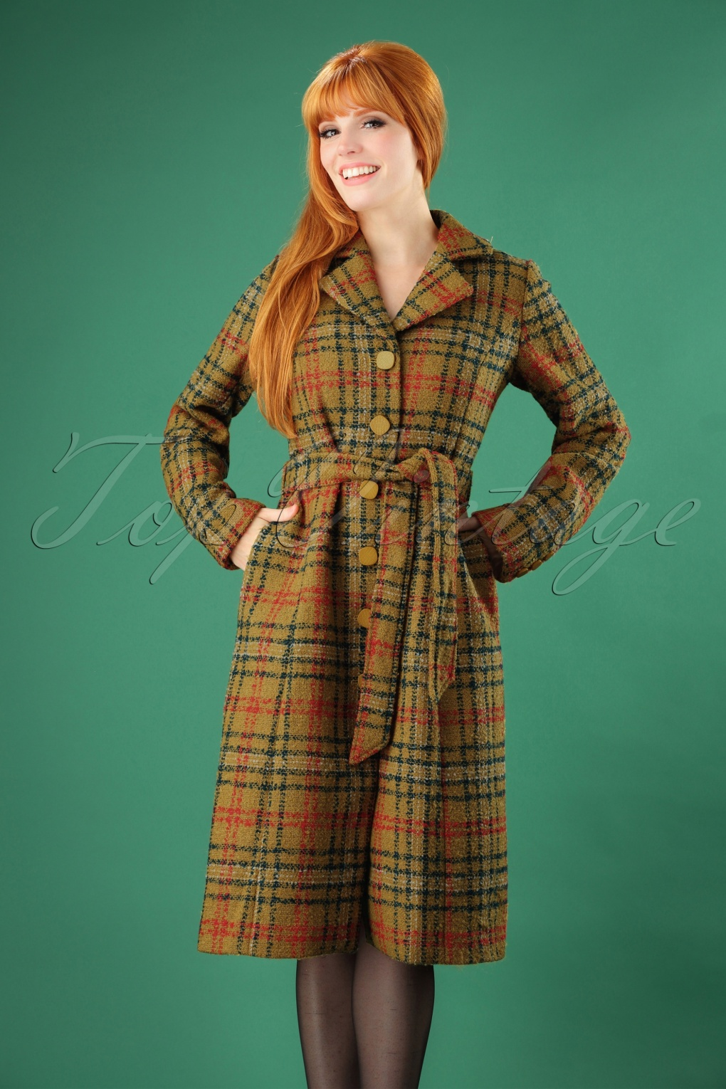 Women's 70s Shirts, Blouses, Hippie Tops 60s Alice Times Square Coat in Sunset Yellow £175.08 AT vintagedancer.com