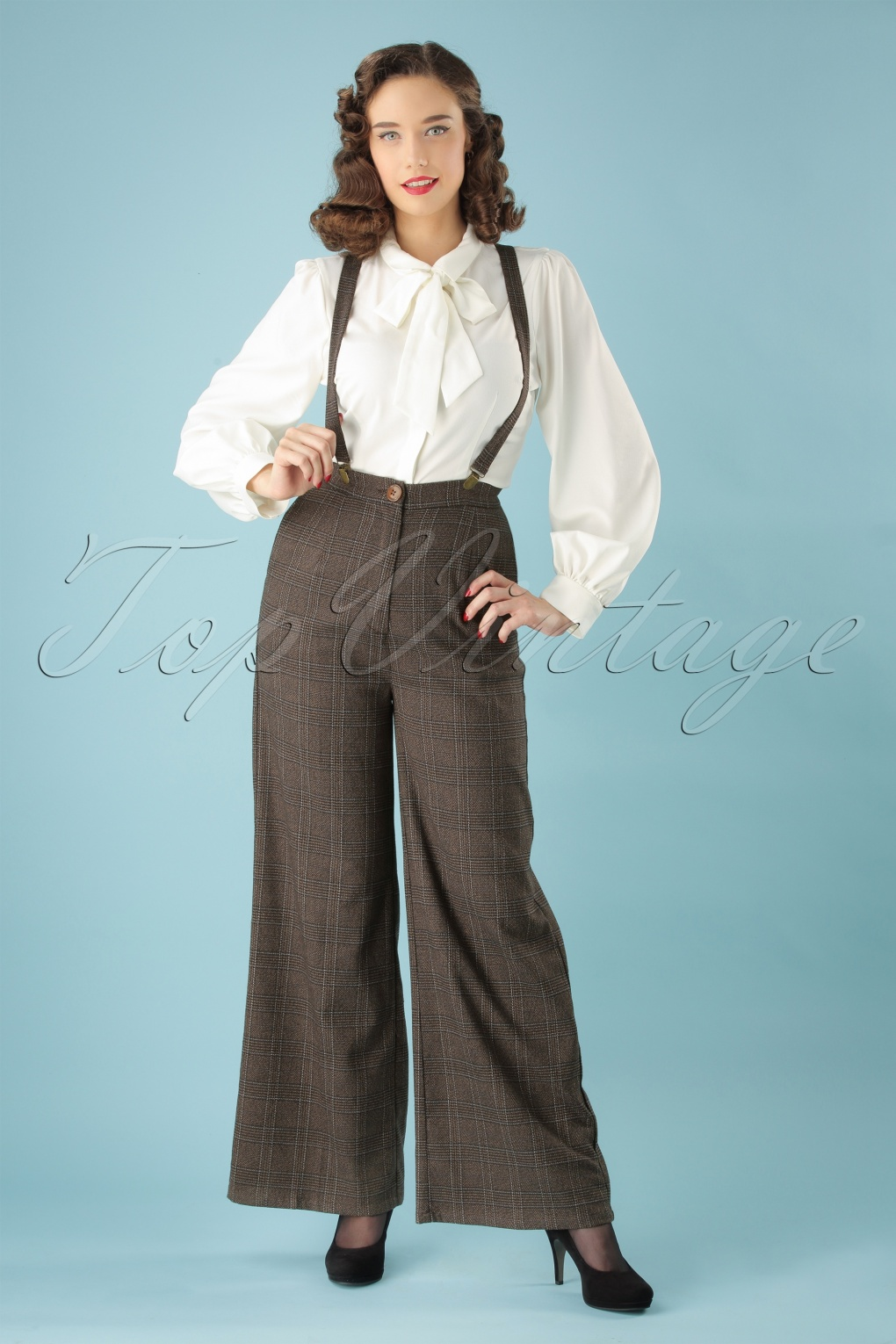 1940s Swing Pants & Sailor Trousers- Wide Leg, High Waist 40s Glinda Librarian Check Trousers in Brown £40.12 AT vintagedancer.com