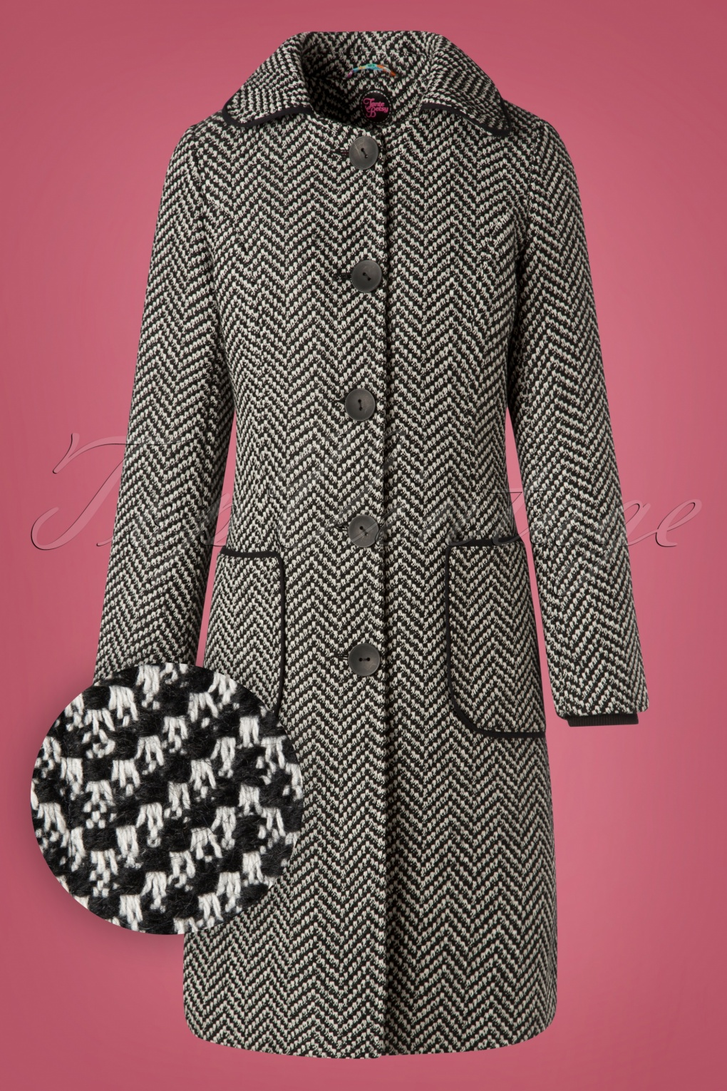Vintage Coats & Jackets | Retro Coats and Jackets 60s Tilly Herringbone Coat in Black and White £149.01 AT vintagedancer.com