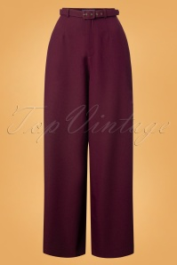 Collectif Clothing Vicky Crepe Trousers in Wine 24881 20180628 0002W