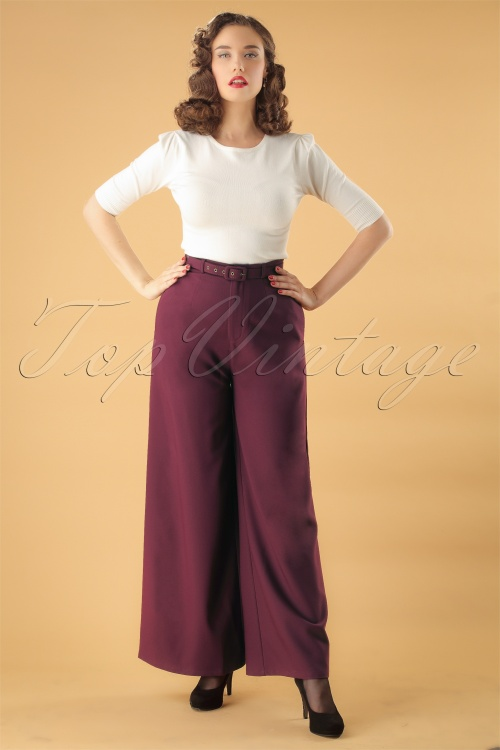 Collectif Clothing  Vicky Crepe Trousers in Wine 24881 20180628 0009 Model W