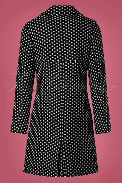 60s Nora Polkadot Coat in Black