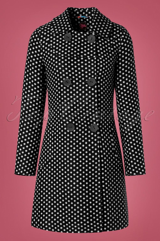 Vintage Coats & Jackets | Retro Coats and Jackets 60s Nora Polkadot Coat in Black £148.94 AT vintagedancer.com