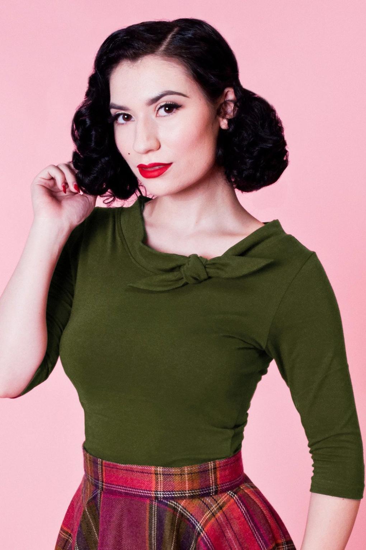 Lily Bow Top Années 50 en Vert Olive