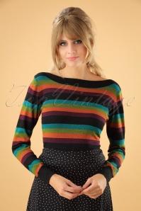 60s Audrey Glitter Stripe Top in Black