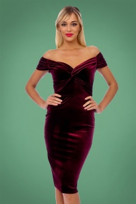 50s Glenda Velvet Pencil Dress in Claret