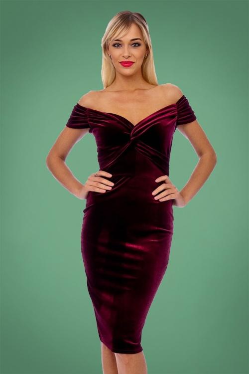 f20d595f85bd Vintage Chic 50s Glenda Velvet Red Pencil Dress 100 20 26400 1