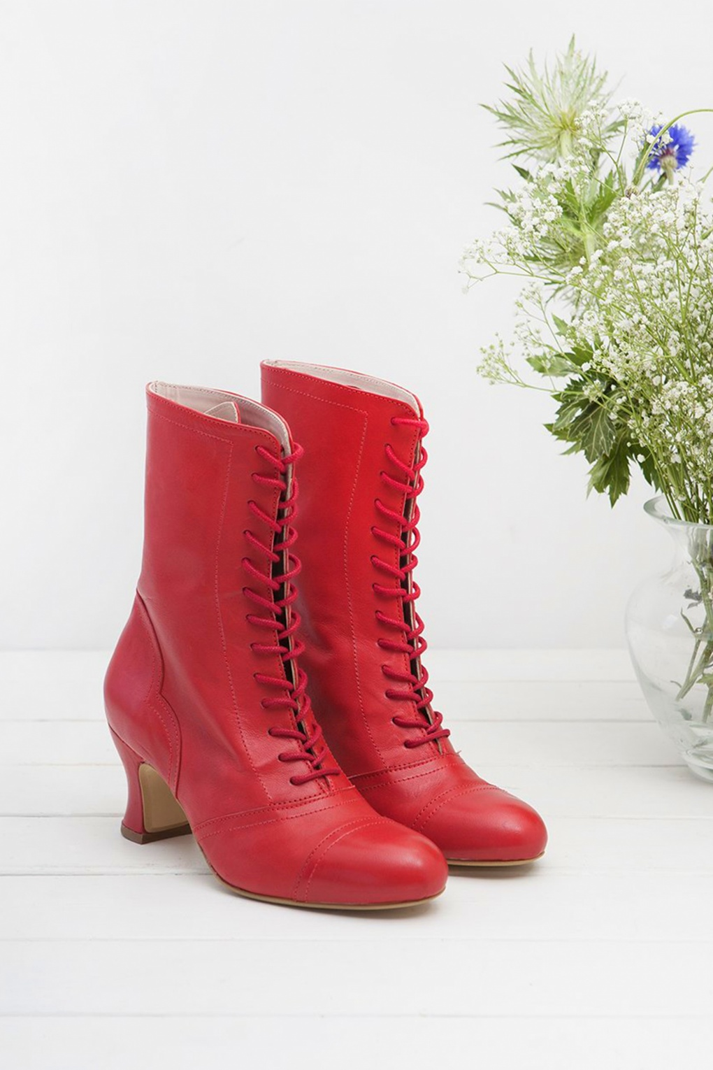 Vintage Style Shoes, Vintage Inspired Shoes 40s Frida Lace Up Booties in Red £179.98 AT vintagedancer.com