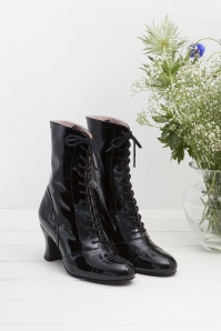 Frida Lace Up Booties Années 40 en Noir Verni