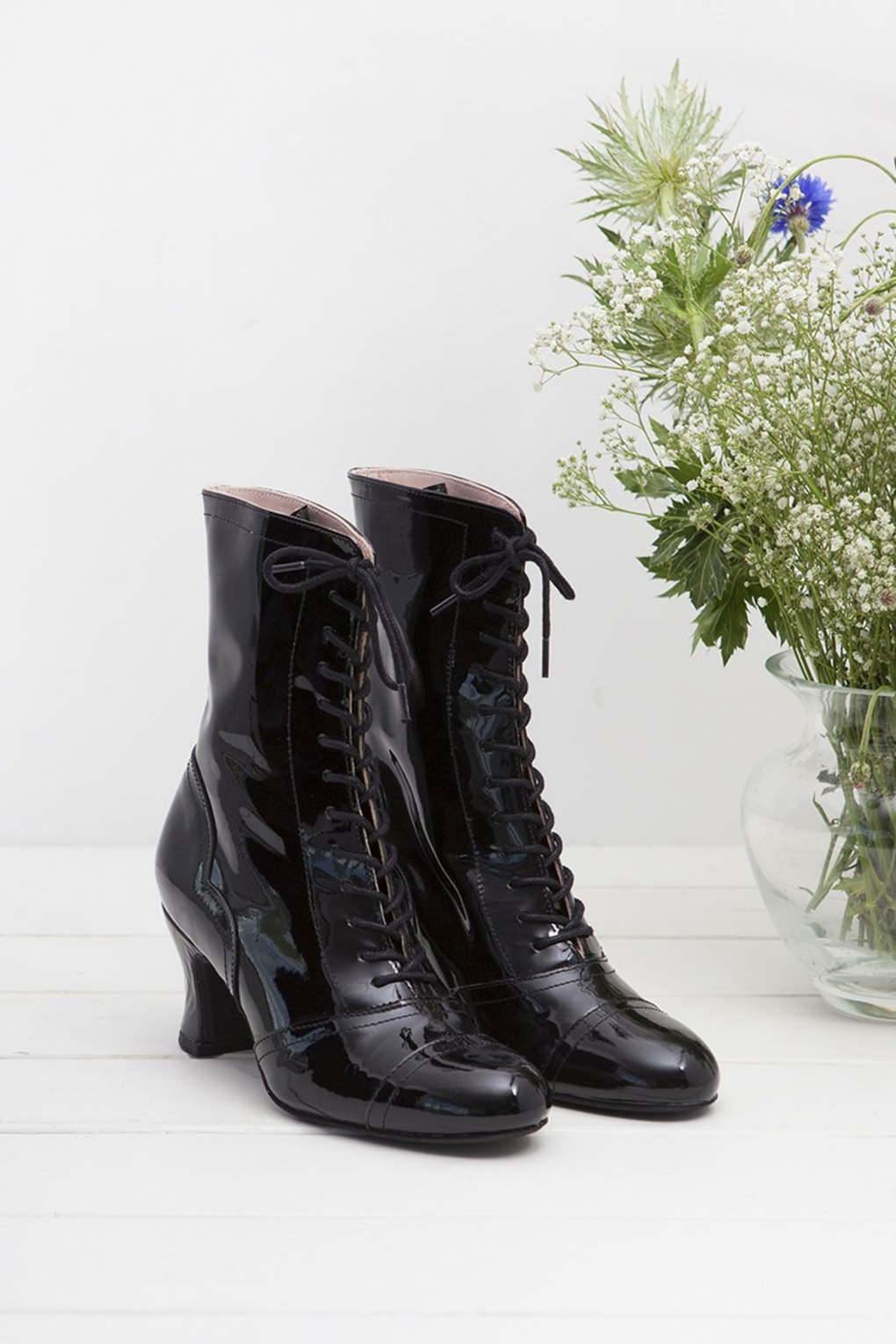 Vintage Style Shoes, Vintage Inspired Shoes 40s Frida Lace Up Booties in Patent Black £178.48 AT vintagedancer.com