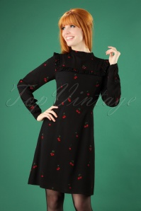 60s Lolita Winterberry Cherry Frill Dress in Black