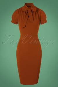 Bonnie Tie Neck Pencil Dress Années 50 en Cannelle