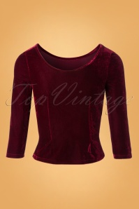 Collectif Clothing Twinnie Velvet Top in Red 110 20 24855 20180926 0003W