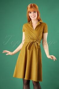 50s Joan Pindot Rib Swing Dress in Yellow