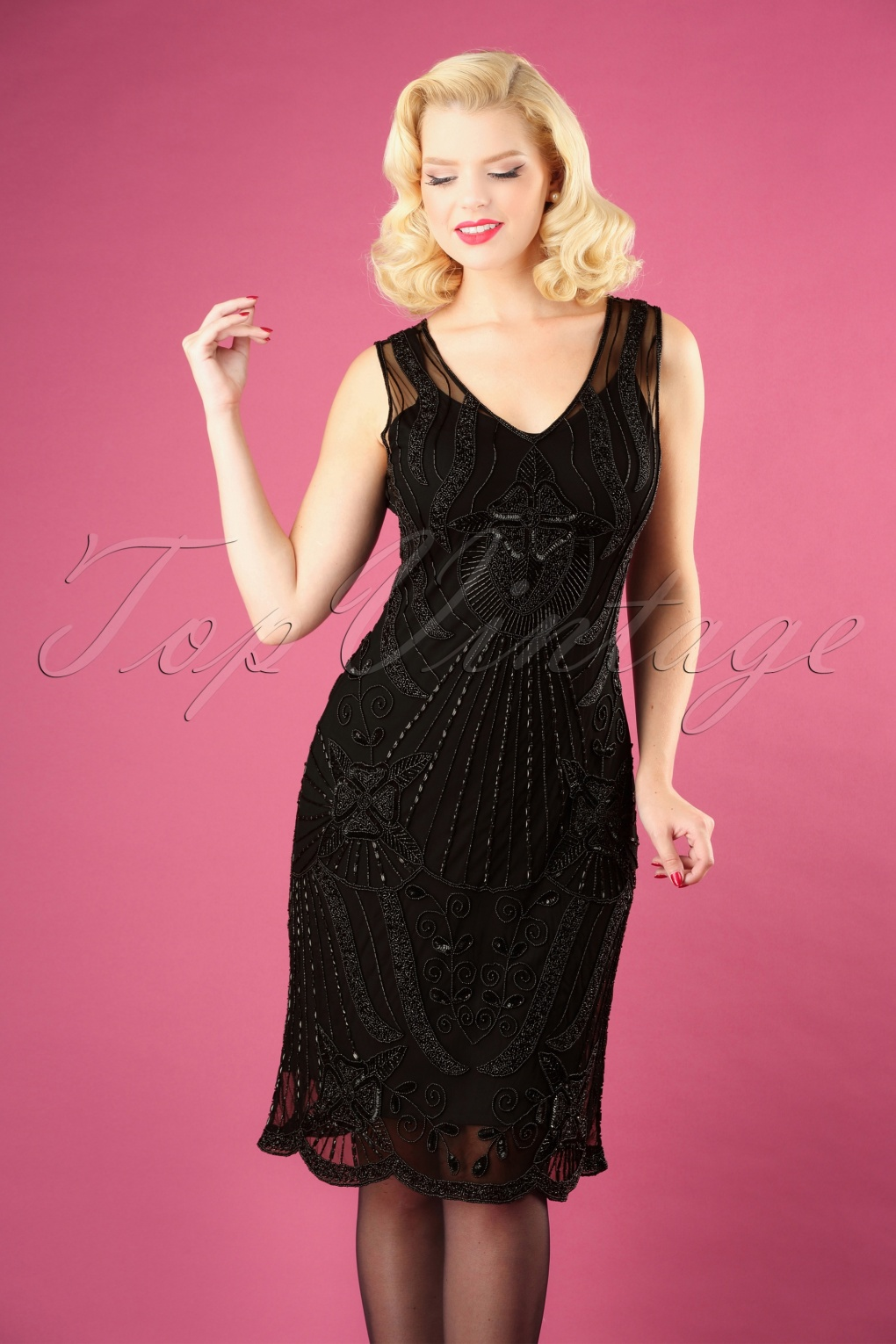 1920s Downton Abbey Dresses 20s Diana Pencil Dress in Black £116.00 AT vintagedancer.com