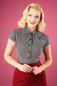 Heart of Haute 40s Estelle Candy Striped Blouse in Black and White