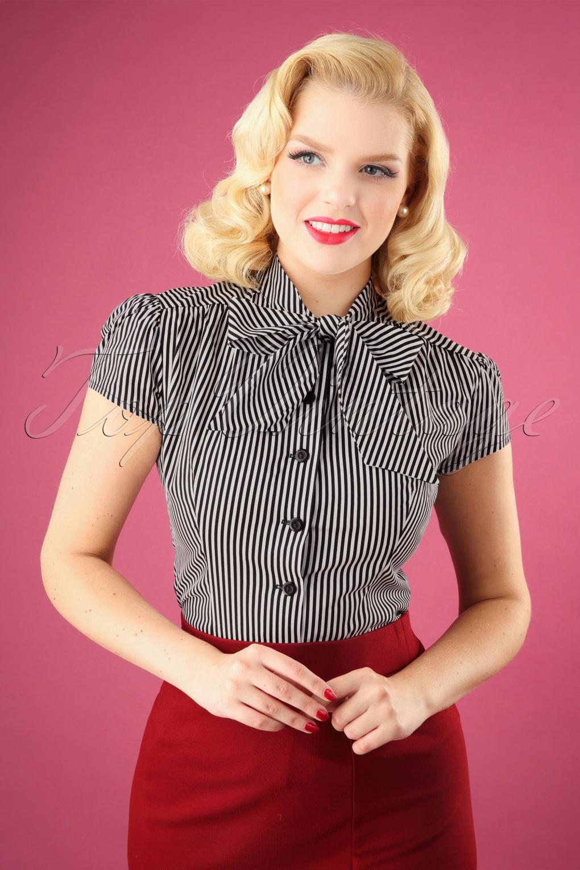 Estelle Candy Striped Blouse Années 40 en Noir et Blanc