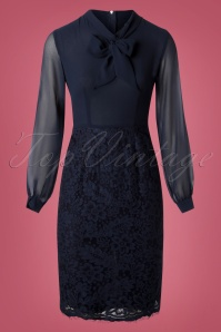 Paper Dolls Navy Lace Long Sleeve Dress 100 31 26075 20180920 0003W