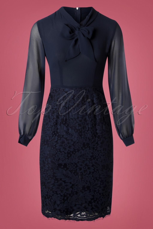 Rockabilly Dresses | Rockabilly Clothing | Viva Las Vegas 50s Floral Lace Pencil Dress in Navy £63.06 AT vintagedancer.com