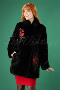 Yumi Faux Fur Coat with Flowers in Black 152 10 25690 20180821 0002W