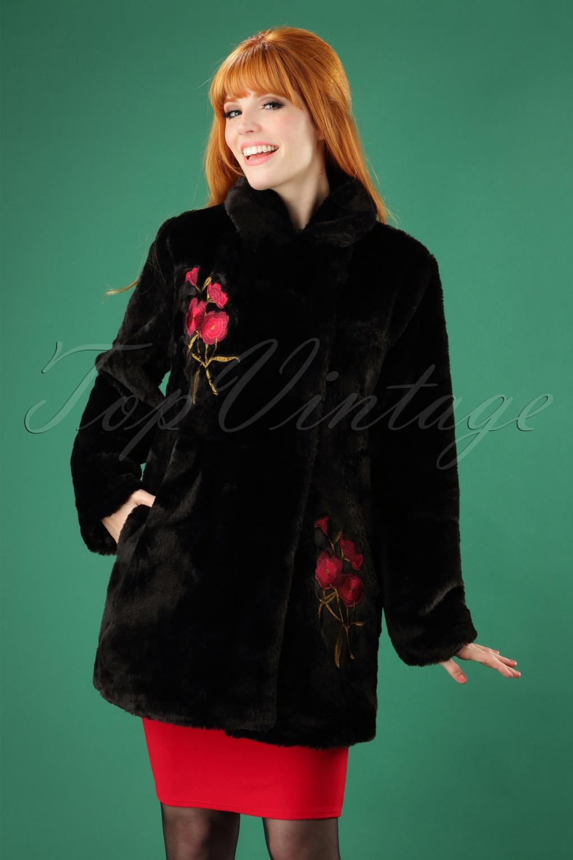 Women's 70s Shirts, Blouses, Hippie Tops 70s Erin Floral Faux Fur Coat in Black £105.03 AT vintagedancer.com
