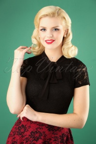50s Rose Lace Tie Neck Top in Black