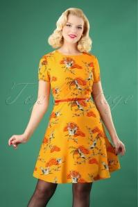60s Ohara Birds Of Happiness Dress in Sun Yellow