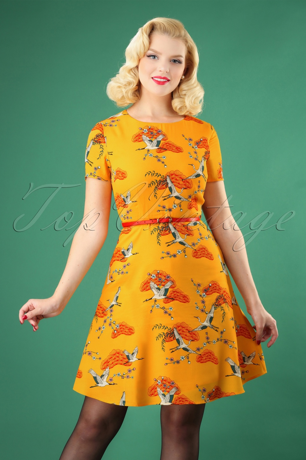 1960s Style Dresses, Clothing, Shoes UK 60s Ohara Birds Of Happiness Dress in Sun Yellow £35.59 AT vintagedancer.com