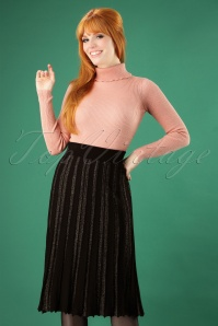 60s Stacey Pleated Skirt in Black