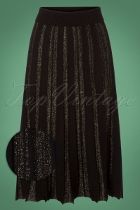 Yumi Black and Gold Lurex Pleated Skirt 122 10 25691 20180821 0001W1