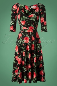 Vintage Chic Black Red Floral Dress 102 14 26459 20180926 0004W