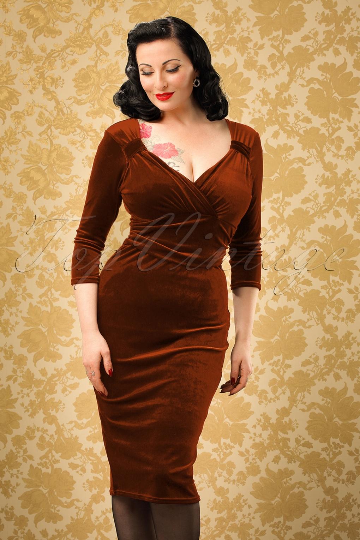 Rockabilly Dresses | Rockabilly Clothing | Viva Las Vegas TopVintage Exclusive  50s Annabelle Velvet Pencil Dress in Rust £52.54 AT vintagedancer.com
