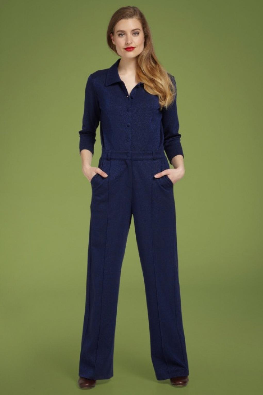 60s – 70s Pants, Jeans, Hippie, Bell Bottoms, Jumpsuits 70s Macy Milano Lurex Jumpsuit in Blue £132.20 AT vintagedancer.com