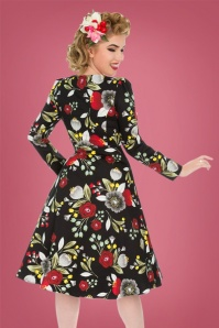 Hearts and Roses Black Floral Swing Dress 27698 2