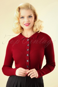 60s Rochelle Rib Collar Cardigan in Dark Red