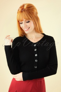 60s Rochelle Rib Collar Cardigan in Black