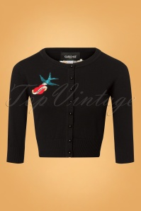 Collectif Clothing 50s Lucy True Love Cardigan Black 140 10 24788 20180626 0003W