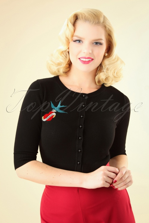 Collectif Clothing 50s Lucy True Love Cardigan Black 140 10 24788 20180626 0002W