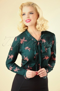 60s Swim With The Fishes Blouse in Green